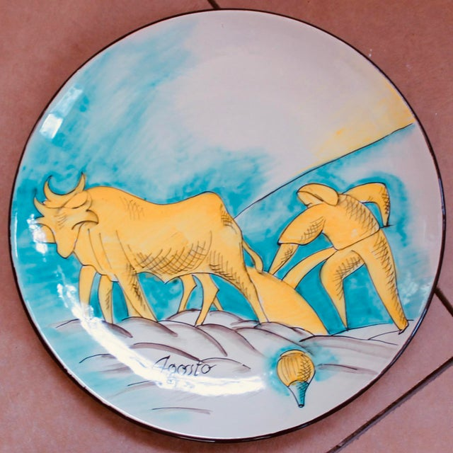 Set of 12 Italian Maiolica Dinner Plates, Painted With Country Life Scenes For Sale - Image 9 of 13