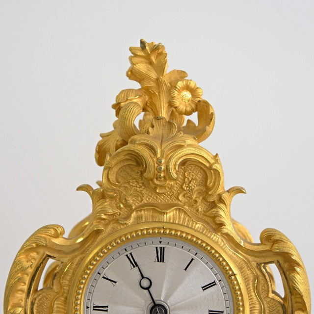 Early 19th Century French Louis XIV Style Ormolu Mantle Clock For Sale - Image 6 of 9