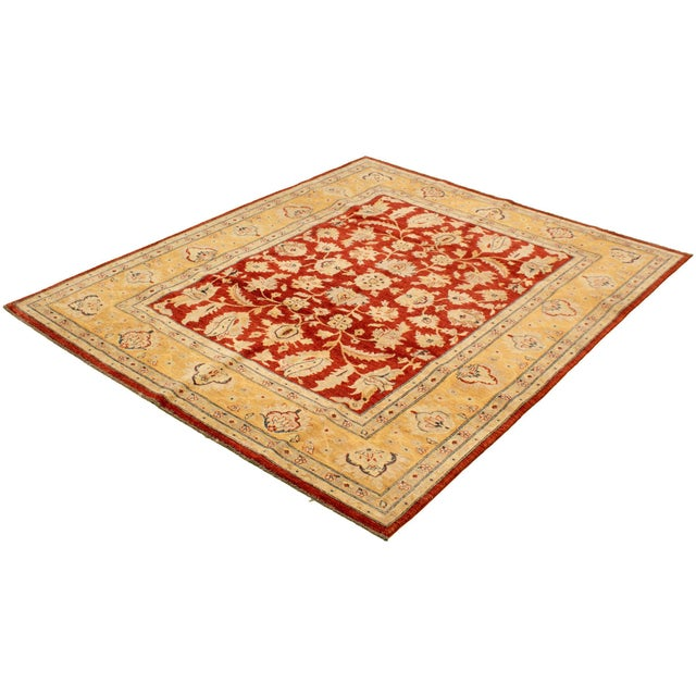 Hand-Knotted Red Rug For Sale - Image 4 of 9