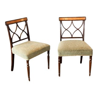 Early 19th Century Inlaid Sheraton Chairs- a Pair For Sale