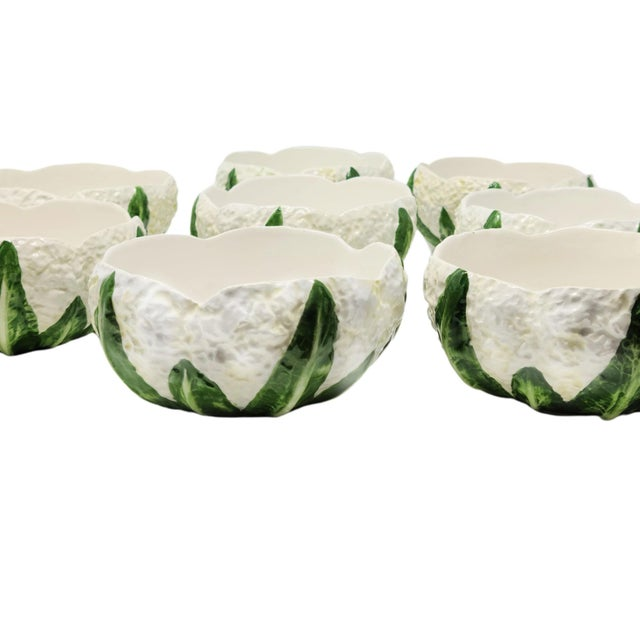 Vintage 1970s Made in Italy Cauliflower Bowls - Set of 8 For Sale - Image 4 of 7