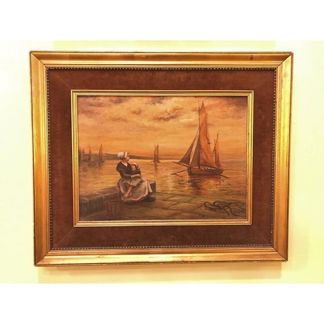 English Traditional Woman & Child Sitting at the Pier Oil on Canvas For Sale - Image 3 of 11