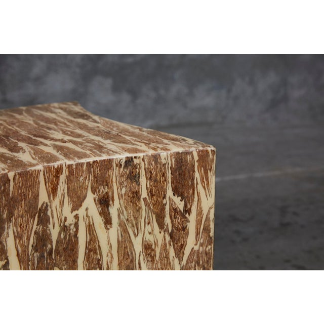 """Contemporary 1990s Contemporary Freeform """"Wave"""" Side Table With Natural Fiber Inlay For Sale - Image 3 of 11"""