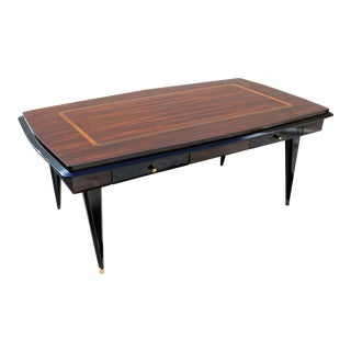 Monumental French Art Deco Exotic Macassar Ebony Desk, circa 1940s For Sale