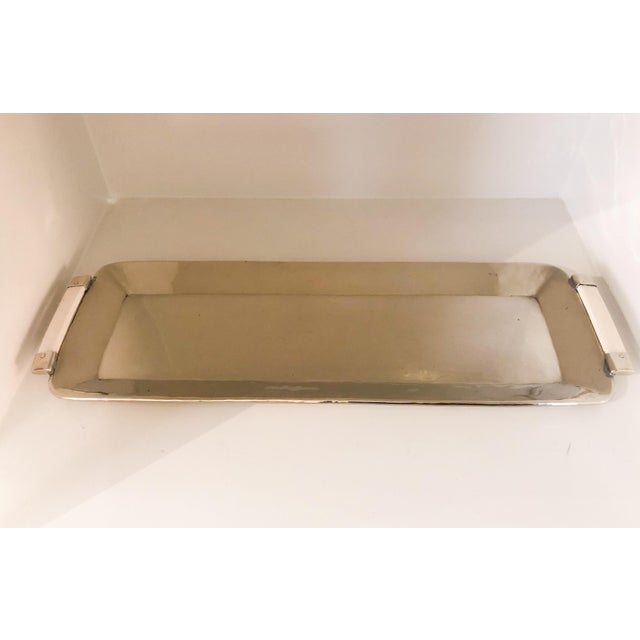 Vintage Early 21st Century Silver tray with bone handles