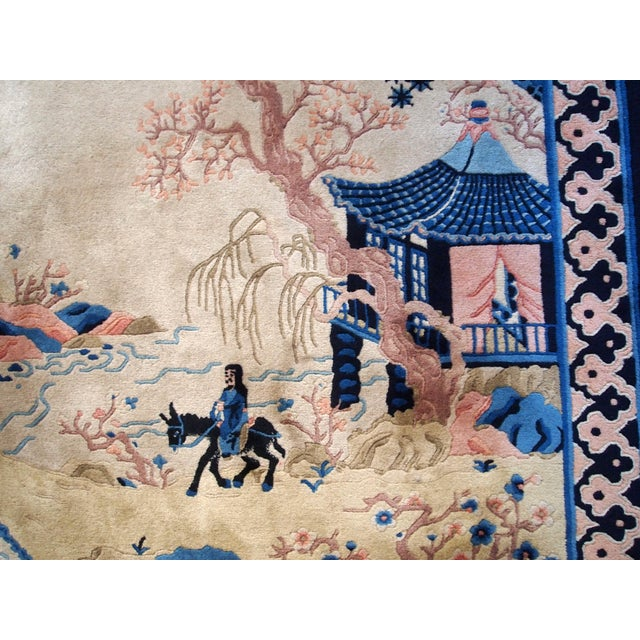 Blue 1970s Hand Made Vintage Art Deco Chinese Rug - 4' X 6' For Sale - Image 8 of 9