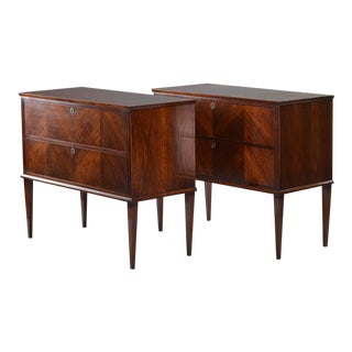 Empire Style Bespoke Two Drawer Walnut Chests, Pair For Sale