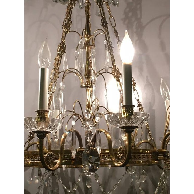 Exquisite neoclassical style hollywood regency crystal and brass neoclassical style hollywood regency crystal and brass chandelier image 4 of 10 mozeypictures Choice Image
