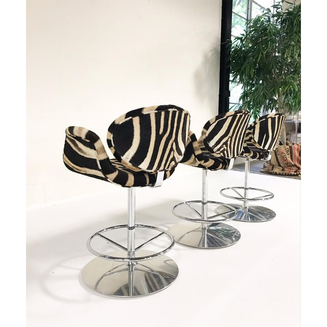 Artifort Vintage Pierre Paulin Tulip Bar Stool Chairs Restored in Zebra Hide - Set of 3 For Sale - Image 4 of 9