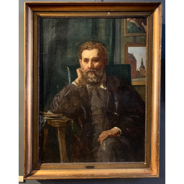 Holger Roed (1846-1874) Large Portrait of His Father, Denmark For Sale - Image 11 of 11