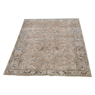 "Antique Persian Heriz Wool Rug - 9'6""x6'9"" For Sale"