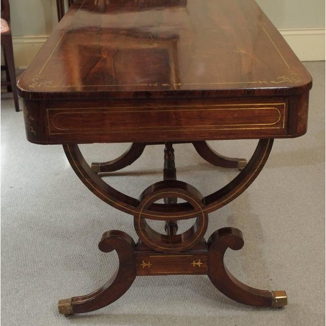 Antique English Regency Rosewood Writing Table, Saber Legs, Brass Inlay For Sale - Image 9 of 10