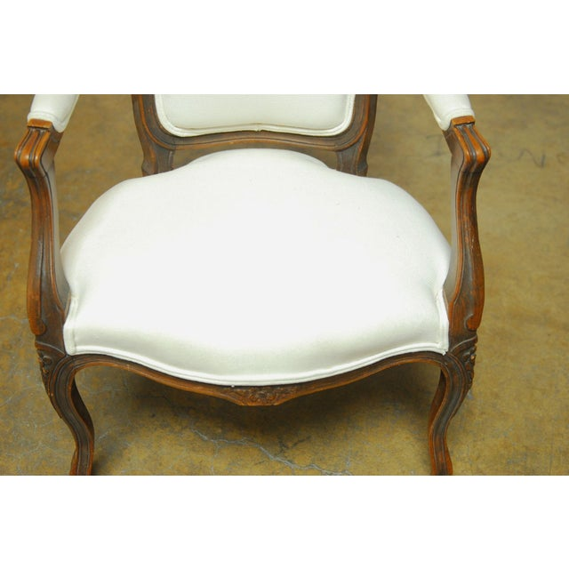 Antique French Louis XV Carved Fauteuil Armchair - Image 7 of 7