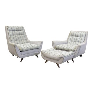Pair of Mid-Century Modern Kroehler Pearsall Style Lounge Chairs Ottoman For Sale