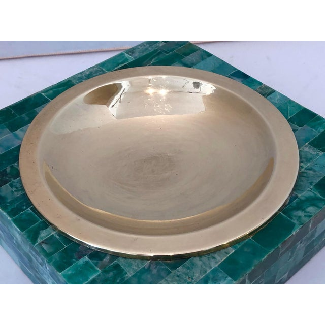 Fabulous Mid-Century Tessellated Green Stone Catchall, Manner or Karl Springer, or G.Jonson & Robert Marcius. Dimensions:...