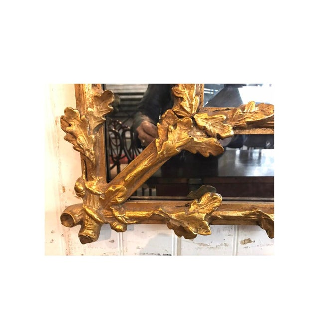 Antique Carved Florentine Giltwood Mirror Italy Baroque Revival For Sale - Image 4 of 7