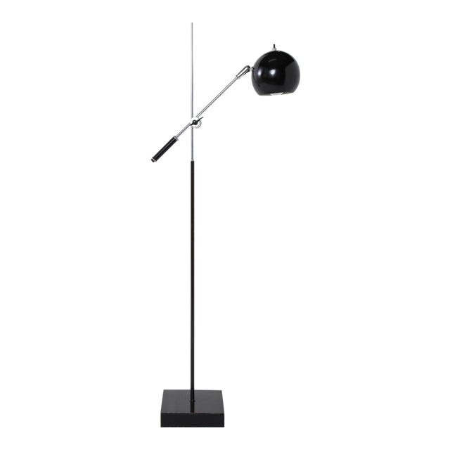Mid-Century Chrome and Black Adjustable Floor Lamp For Sale
