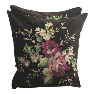 "26"" Large Chocolate Velvet Full Embroidered Floral Sky Pillows - a Pair"