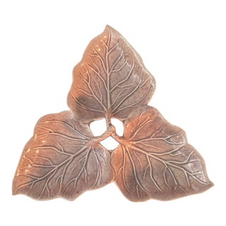 1950s W. Frazier California Pottery Leaf Cachepot/Server For Sale