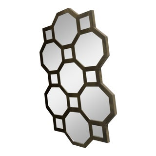 Honeycomb Gold Wood Mirror For Sale