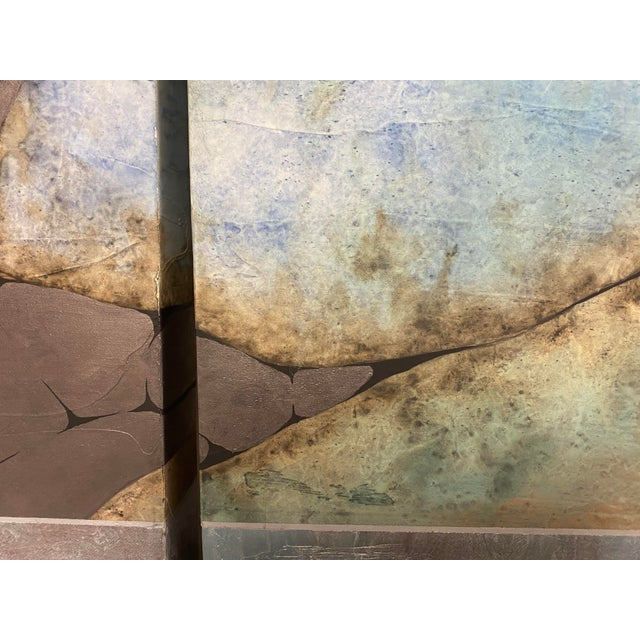 Canvas Mid-Century Three Piece Mixed Media Painting For Sale - Image 7 of 12