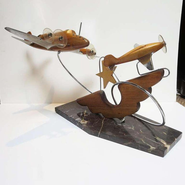 Art Deco French Art Deco Airplane Sculpture For Sale - Image 3 of 7