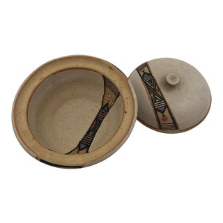 Hand Thrown Lidded Pottery Cooking and Serving Dish With Banded Pattern For Sale
