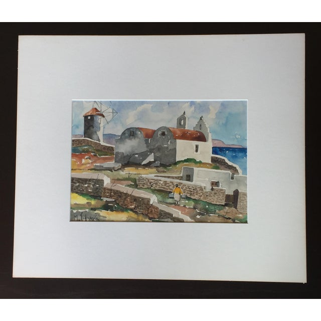 Expressionism Expressionist Watercolor Painting Mykonos : Listed Artist Sofianos For Sale - Image 3 of 6