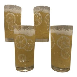 Fred Press Frosted Yellow Lemon Highball Glasses - Set of 4