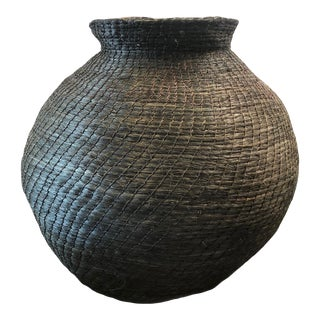 Mid 20th Century Black African Woven Basket Vase For Sale