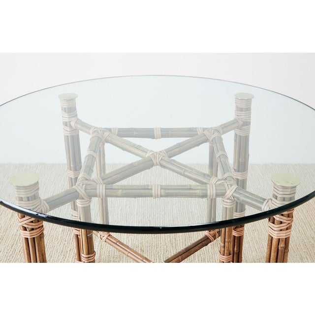 Late 20th Century McGuire Organic Modern Bamboo Rattan Dining Table For Sale - Image 5 of 13