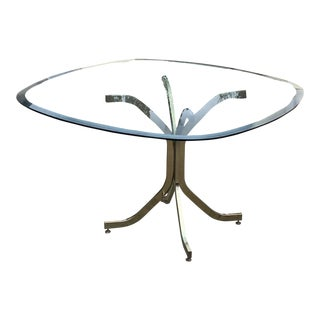 Glass Top Dining Table and Brass Chairs For Sale