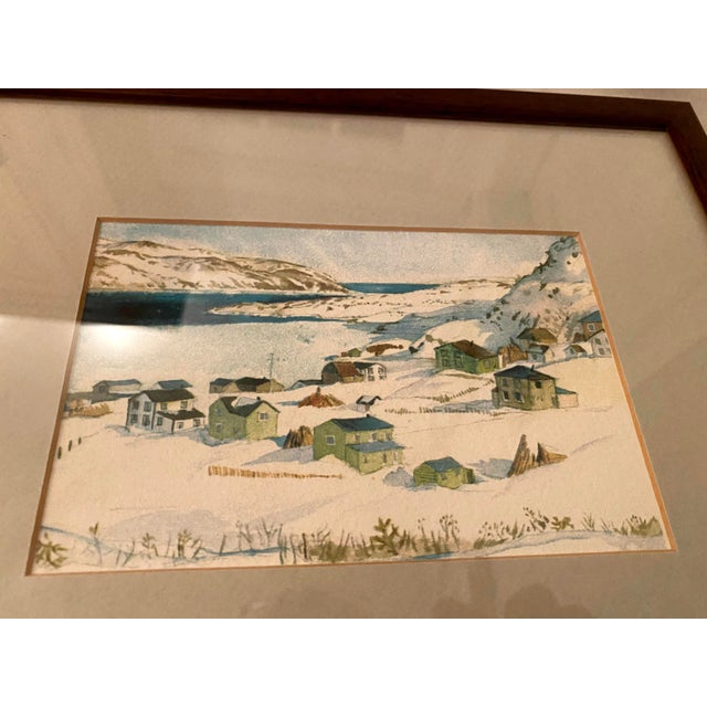 2000 - 2009 Winter Scene of a Lakeside Nordic Town Watercolor Painting, Framed For Sale - Image 5 of 11