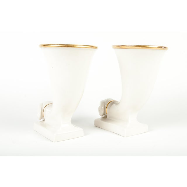 Vintage French pair of decorative ram horn vases. Each vase measure 9 inches high x 5 inches diameter. Base measure 5...