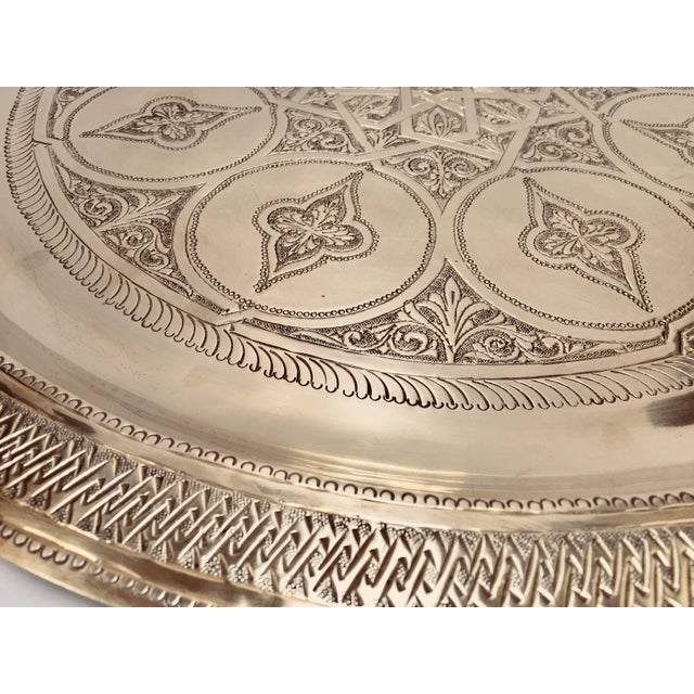 Brass Moroccan Polished Round Brass Tray For Sale - Image 7 of 13