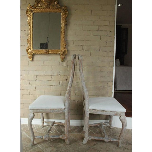 Ivory Pair of 18th Century Swedish Rococo Period Side Chairs For Sale - Image 8 of 11