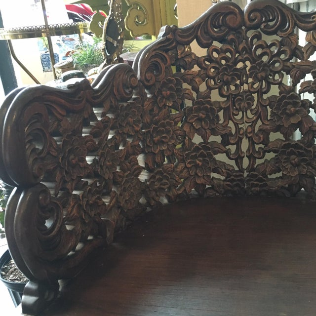 Ornately Carved Wooden Asian Accent Chair - Image 10 of 10