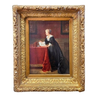 "Oil on Canvas ""Portrait of Woman in Black Reading a Book"" by Jean De La Hoese (Belgian, 1846-1917) For Sale"