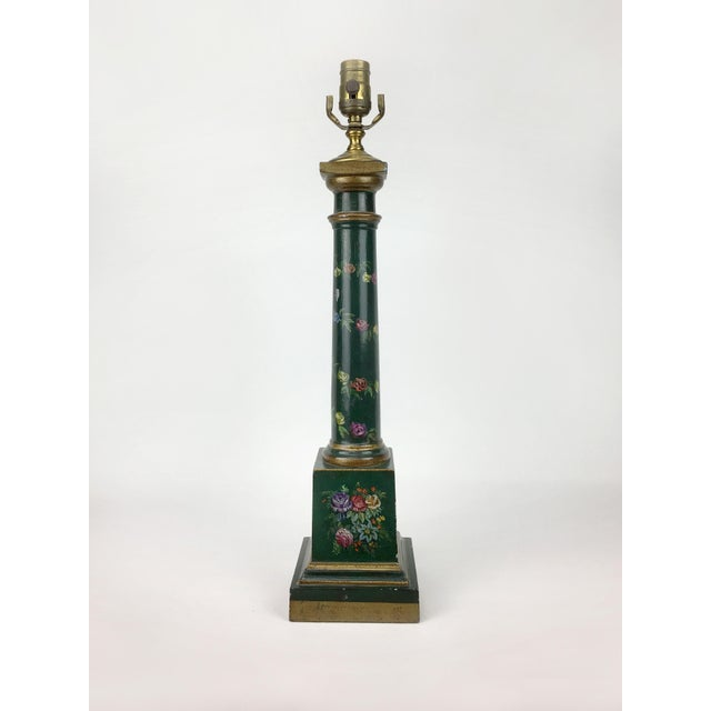 Brass Botanical Motif Column Table Lamp For Sale - Image 7 of 7