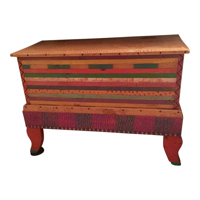 Bohemian Chic Wooden Trunk - Image 1 of 3