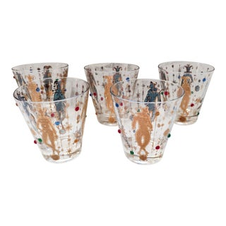 Vintage Culver Jester Mardi Gras Highball Whiskey Bar Glasses - Set of 5