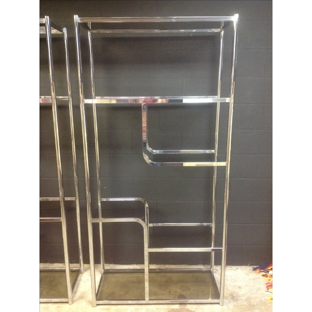 Chrome And Smoked Glass Etagere - Pair - Image 4 of 7