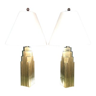 1970's Custom Chapman Brass Skyscraper Table Lamps - a Pair For Sale