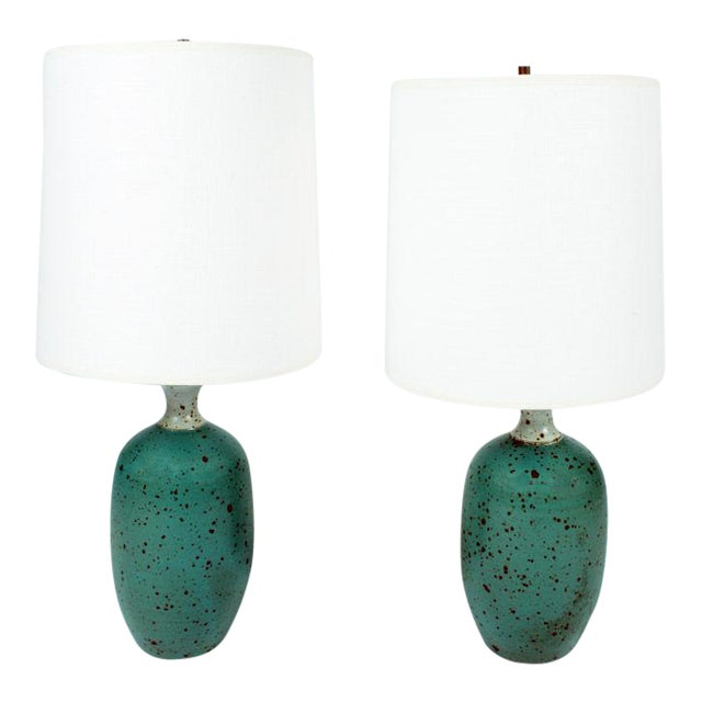 Gerry Williams Robins Egg Blue Ceramic Table Lamps - a Pair For Sale