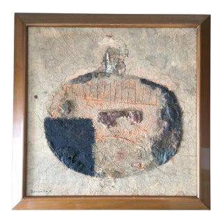 "Suga Sokichi Mid-Century ""Pot"" Mixed Media Painting For Sale"