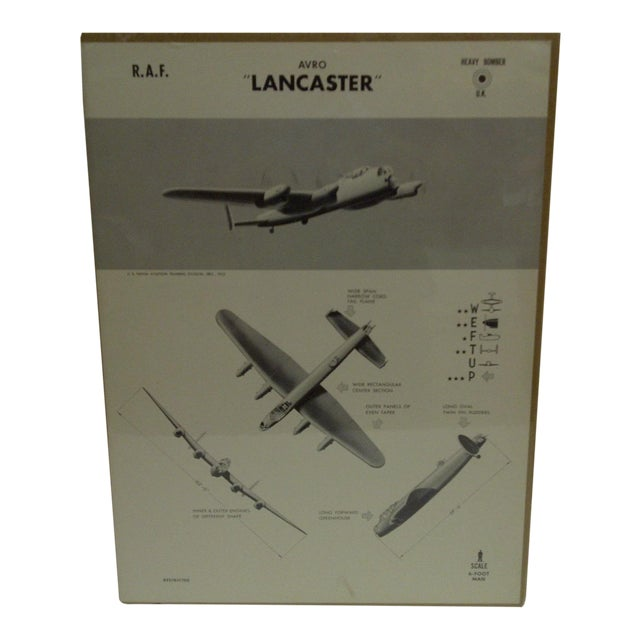 """Vintage WWII Aircraft """"Lancaster"""" Recognition Poster For Sale"""