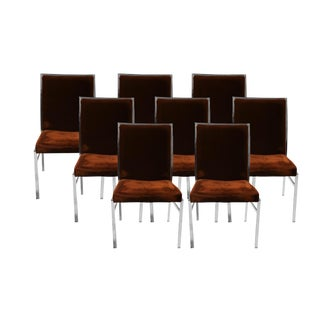 Eight Milo Baughman Style Mid Century Chrome Dining Chairs Pierre Cardin Dillingham