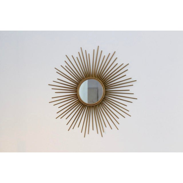 Chaty Vallauris Elegant Gilded Metal Framed Sunburst Mirror by Chaty Vallauris, France 1960s For Sale - Image 4 of 7
