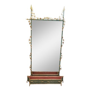 Vintage Mid 20th Century Italian Iron/Tole Full Length Wall Mirror With Planter For Sale