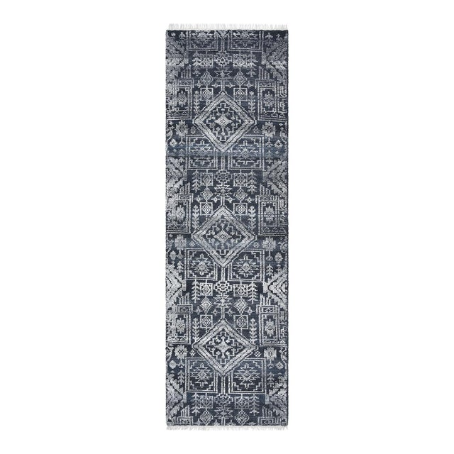 Navy Blue Quinn, Contemporary Transitional Hand-Knotted Runner Rug, Navy, 2' 6 X 8 For Sale - Image 8 of 8